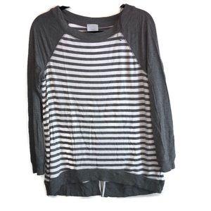 2 for $20 DressBarn Gray & White Long Sleeve Shirt